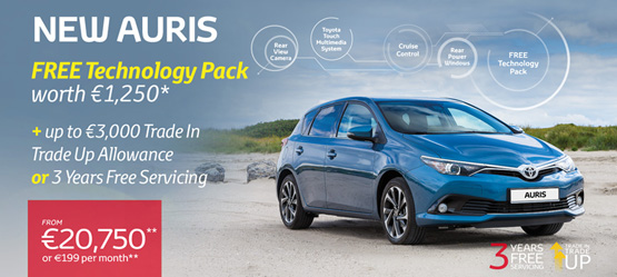 Auris now with Free Technology Pack worth €1,250*