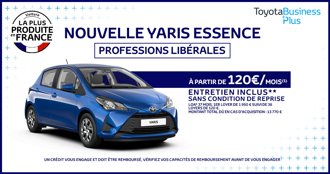 toyota yaris offre sp ciale professions lib rales. Black Bedroom Furniture Sets. Home Design Ideas