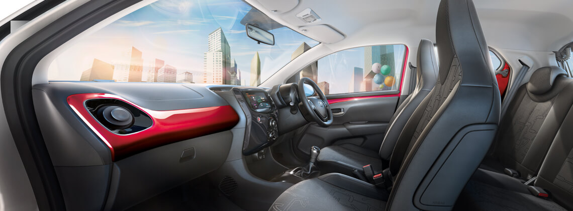 AYGO interior with cityscape backdrop
