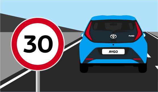 Toyota AYGO, exterior Blue, back view, driving shot with a 30 miles per hour sign on display, animated outdoors background.