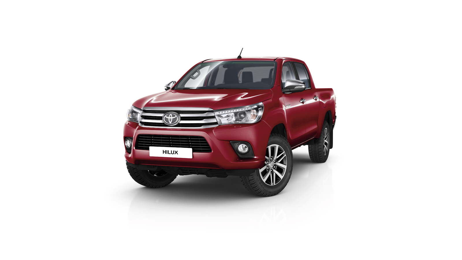 Hilux, Red exterior, front side view, white background.