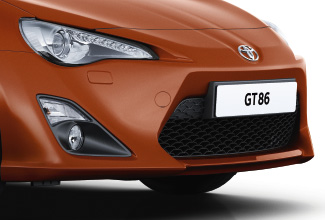 Toyota GT86, exterior, Orange, front side view, white background