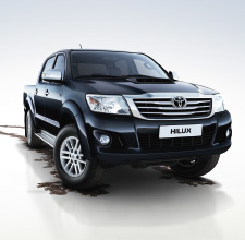 Hilux 4x4, Blue exterior, front view, white background, dirt trail