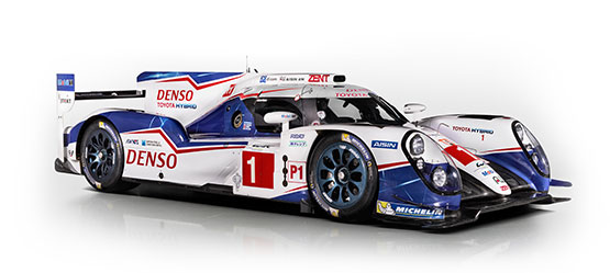 Toyota Hybrid, exterior White, Blue & Red sports car, front side view, white background.