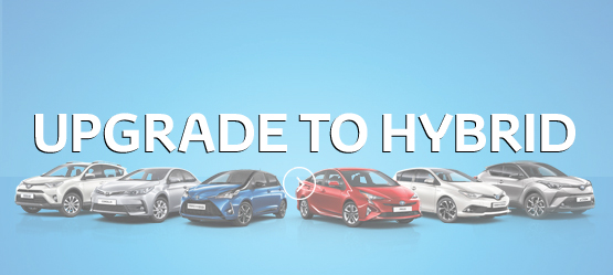 Upgrade To Hybrid For Free - Toyota Hybrid range on blue background